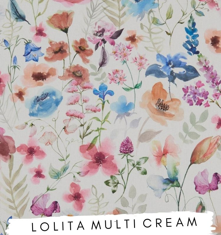 Fabric for letters, Lolita Multi Cream Studio G fabric Clarke & Clarke. Watercolour fabric with pink, purple, orange and blue flowers on. Lilymae Designs