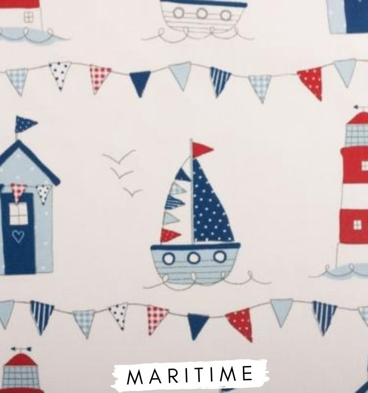 Fabric for letters Maritime Fabric Fryetts, blue and red beach huts, light house, boats, bunting, seagulls fabric for nursery wall letters Lilymae Designs
