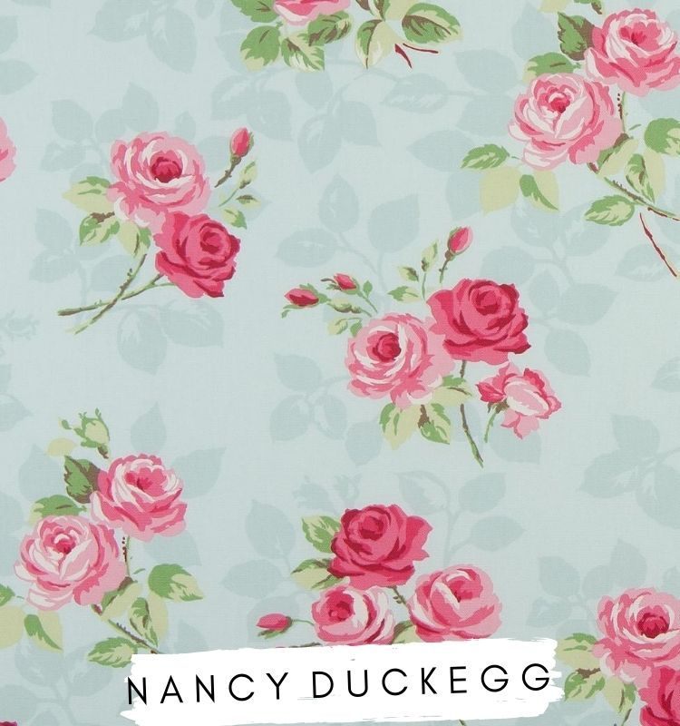 Fabric for letters - Nancy Duckegg Studio G fabric Clarke & Clarke Blue fabric with pink and red flowers