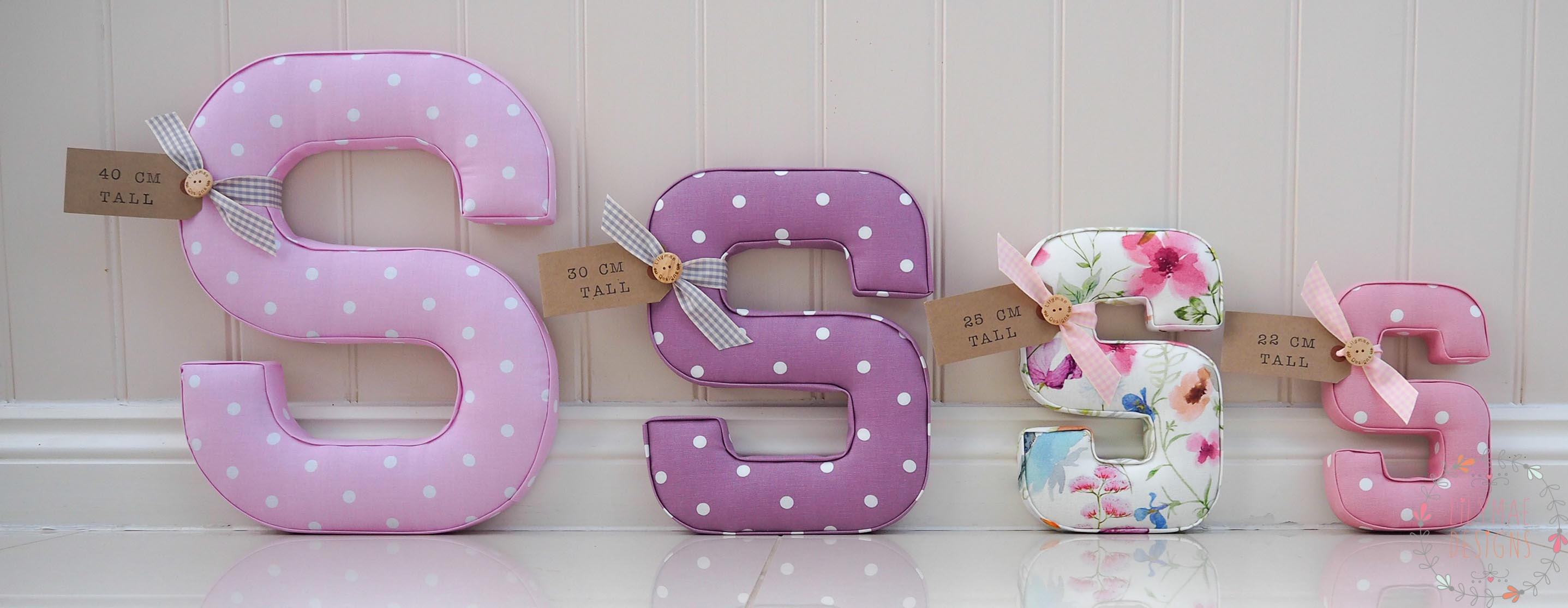 different size fabric letters, 40cm tall, 30cm tall, 25cm tall 22cm tall custom size letters available on request