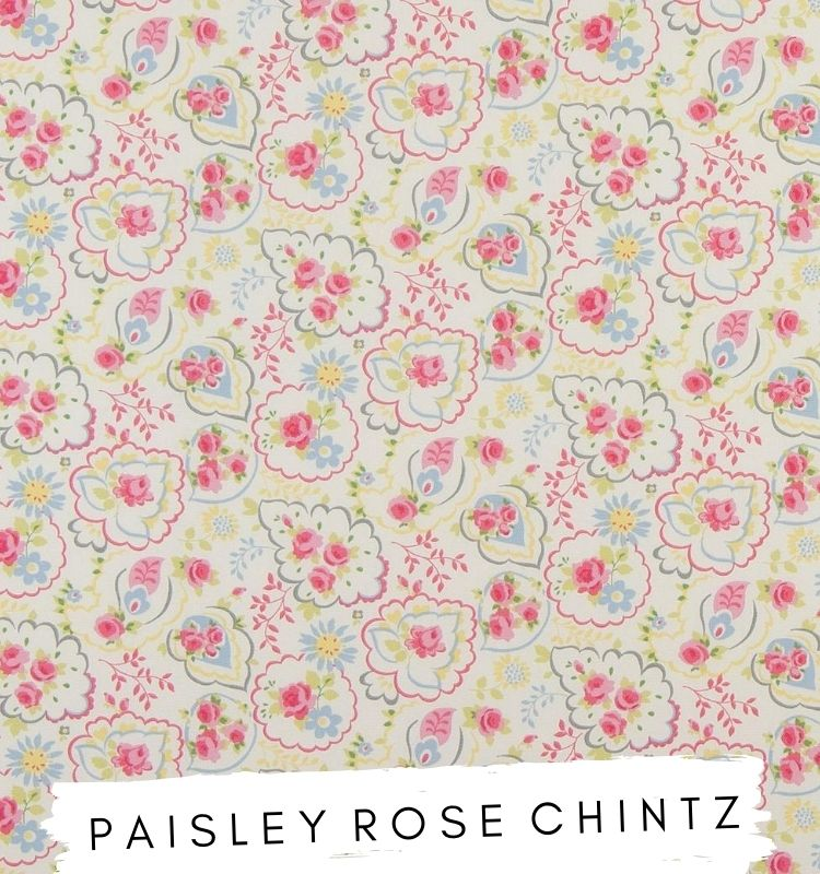 Fabric for letters - Paisley Rose Chintz Studio G Clarke & Clarke Pink, Blue, Green and yellow floral fabric. Lilymae Designs