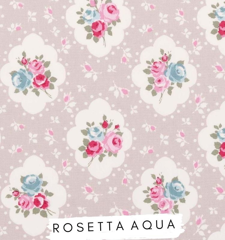 Fabric for letters - Rosetta Aqua Studio G Beige fabric with blue and pink flowers on Lilymae Designs