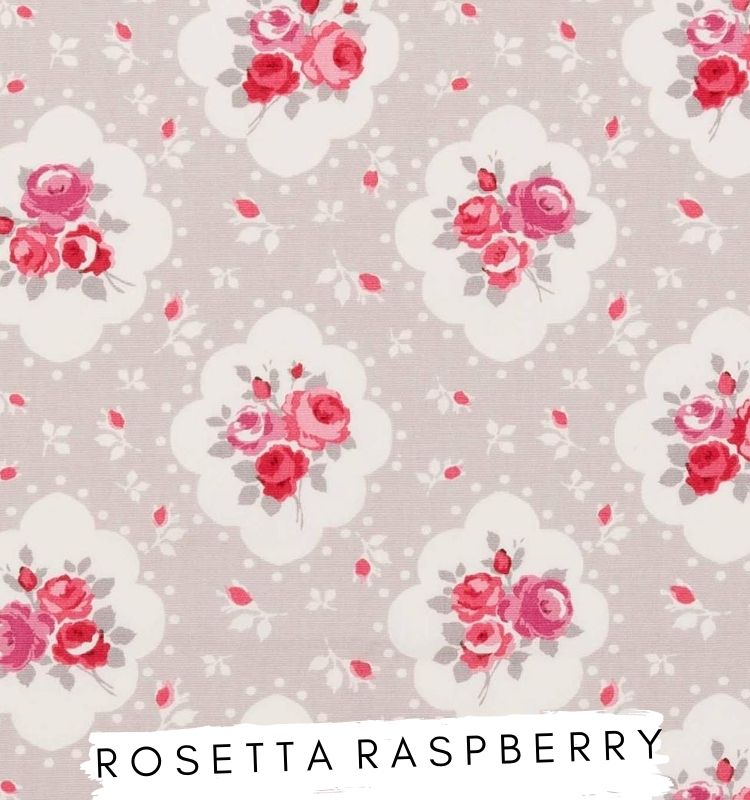 Fabric for Letters - Rosetta Raspberry Studio G Grey fabric with red and pink flowers on