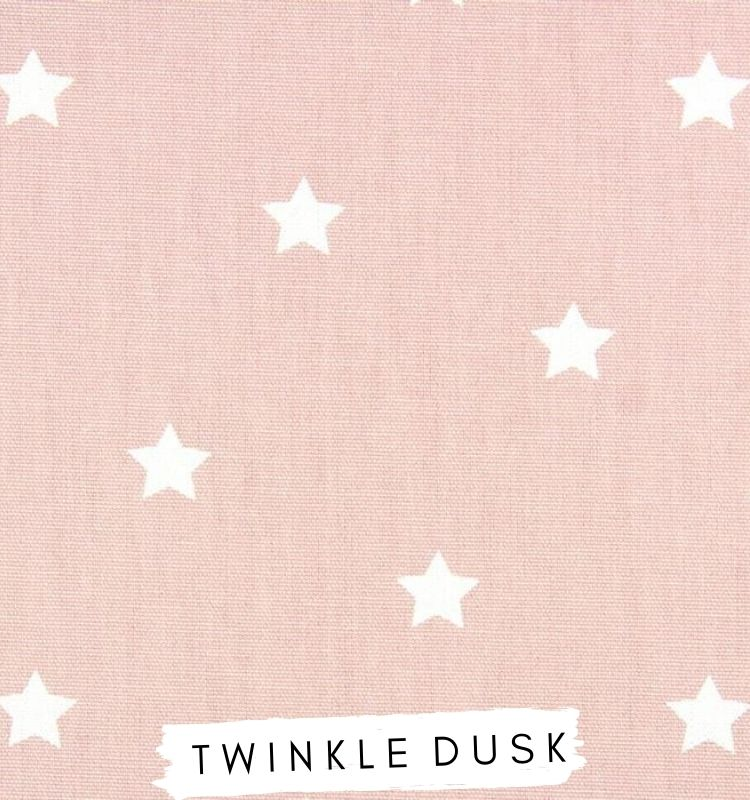 Fabric For letters - Twinkle Dusk Prestigious Textiles Dusty Pink fabric with white stars on. Lilymae Designs