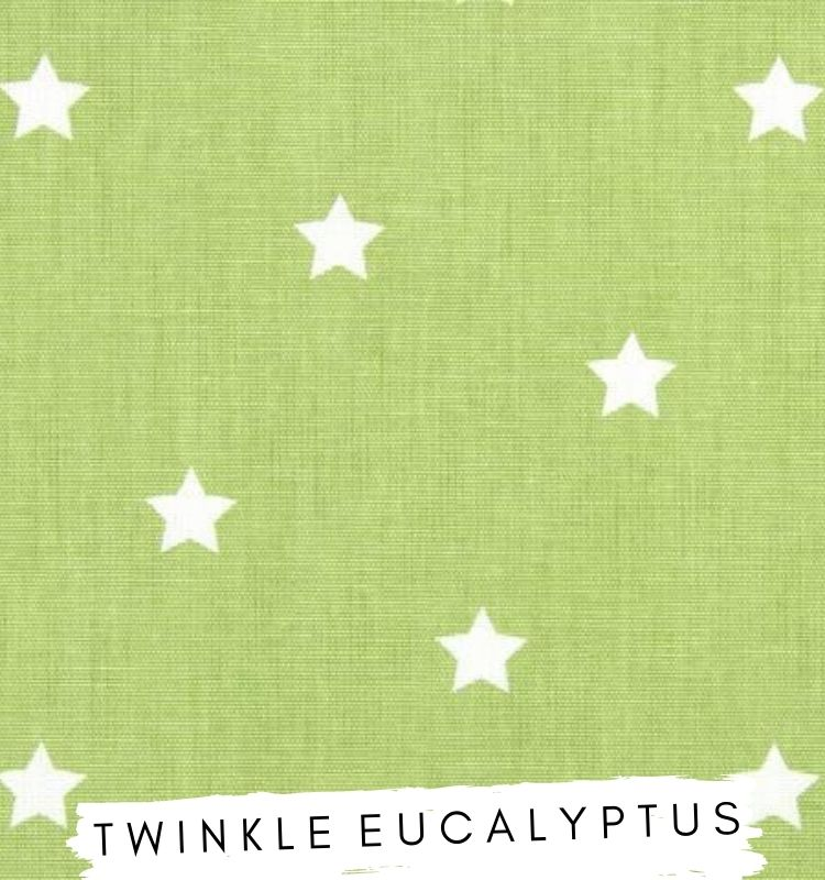 Fabric For letters - Twinkle Eucalyptus Prestigious textiles Green upholstery fabric with white star detail