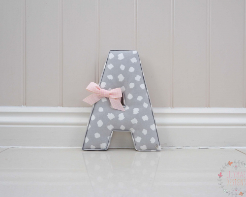 Letter A in Grey Fabric ★ Lilymae Designs ★ We offer many items including Extra Large Fabric Letters in sizes 22cm tall, 25cm tall, 30cm tall, 40cm tall as well as custom sizes on request. Fabric Hearts, Butterflies, Stars, Birds, Bunting, Memo Boards, Extra Large Memo Boards, Cushions, Lampshades, Curtains and Roman Blinds Available in any of our Clarke and Clarke and Prestigious Textiles fabrics. Our personalised custom made to order products make great nursery decor, wall decor and home decor in any room. Also great gifts and presents, new baby, baby shower christening Little brother little sister niece nephew grandson godson granddaughter goddaughter first birthday children's birthday new home teacher dinner party gift mum present sister first home wedding best friends baby boy baby girl flower girl page boy bridesmaid rainbow baby mother's day, Mom, Nan, Auntie, Christmas xmas babys first Christmas daughter son Twins Fraternal Twins Support our small business today, each product is handmade to order here in the UK