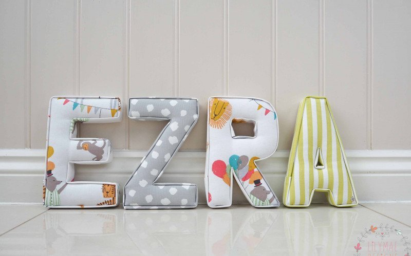 Ezra fabric letters for kids nursery ★ Lilymae Designs ★ We offer many items including Extra Large Fabric Letters in sizes 22cm tall, 25cm tall, 30cm tall, 40cm tall as well as custom sizes on request. Fabric Hearts, Butterflies, Stars, Birds, Bunting, Memo Boards, Extra Large Memo Boards, Cushions, Lampshades, Curtains and Roman Blinds Available in any of our Clarke and Clarke and Prestigious Textiles fabrics. Our personalised custom made to order products make great nursery decor, wall decor and home decor in any room. Also great gifts and presents, new baby, baby shower christening Little brother little sister niece nephew grandson godson granddaughter goddaughter first birthday children's birthday new home teacher dinner party gift mum present sister first home wedding best friends baby boy baby girl flower girl page boy bridesmaid rainbow baby mother's day, Mom, Nan, Auntie, Christmas xmas babys first Christmas daughter son Twins Fraternal Twins Support our small business today, each product is handmade to order here in the UK