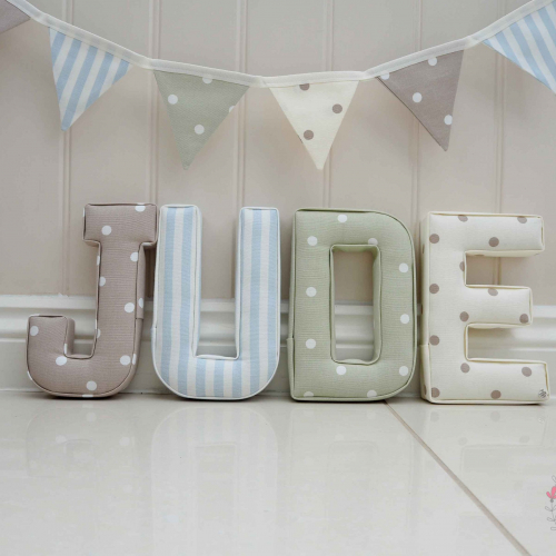 Jude sage nursery letters blue, neutrals ★ Lilymae Designs ★ We offer many items including Extra Large Fabric Letters in sizes 22cm tall, 25cm tall, 30cm tall, 40cm tall as well as custom sizes on request. Fabric Hearts, Butterflies, Stars, Birds, Bunting, Memo Boards, Extra Large Memo Boards, Cushions, Lampshades, Curtains and Roman Blinds Available in any of our Clarke and Clarke and Prestigious Textiles fabrics. Our personalised custom made to order products make great nursery decor, wall decor and home decor in any room. Also great gifts and presents, new baby, baby shower christening Little brother little sister niece nephew grandson godson granddaughter goddaughter first birthday children's birthday new home teacher dinner party gift mum present sister first home wedding best friends baby boy baby girl flower girl page boy bridesmaid rainbow baby mother's day, Mom, Nan, Auntie, Christmas xmas babys first Christmas daughter son Twins Fraternal Twins Support our small business today, each product is handmade to order here in the UK