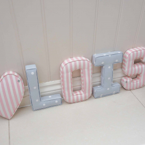 Pink & Grey nursery decorations ★ Lilymae Designs ★ We offer many items including Extra Large Fabric Letters in sizes 22cm tall, 25cm tall, 30cm tall, 40cm tall as well as custom sizes on request. Fabric Hearts, Butterflies, Stars, Birds, Bunting, Memo Boards, Extra Large Memo Boards, Cushions, Lampshades, Curtains and Roman Blinds Available in any of our Clarke and Clarke and Prestigious Textiles fabrics. Our personalised custom made to order products make great nursery decor, wall decor and home decor in any room. Also great gifts and presents, new baby, baby shower christening Little brother little sister niece nephew grandson godson granddaughter goddaughter first birthday children's birthday new home teacher dinner party gift mum present sister first home wedding best friends baby boy baby girl flower girl page boy bridesmaid rainbow baby mother's day, Mom, Nan, Auntie, Christmas xmas babys first Christmas daughter son Twins Fraternal Twins Support our small business today, each product is handmade to order here in the UK